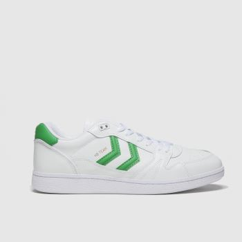 hummel White & Green Handball Mens Trainers