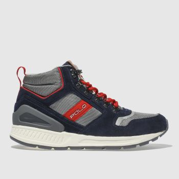Polo Ralph Lauren Navy & Red Train 100 Mid Mens Trainers