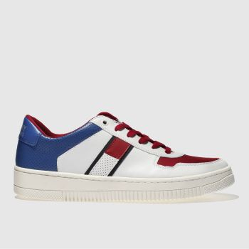 Tommy Hilfiger White & Red TJ BASKET SNEAKER Trainers