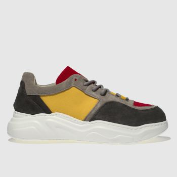 Schuh Grey & Red Vito Mens Trainers