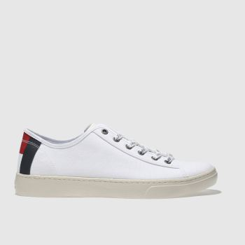 Tommy Hilfiger White & Navy Tj Light Textile Low Mens Trainers
