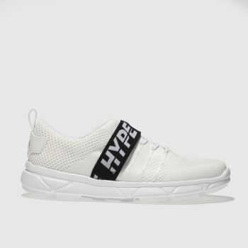 HYPE WHITE & BLACK TAPE RUNNER TRAINERS