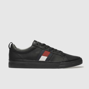 TOMMY HILFIGER BLACK & RED FLAG DETAIL SNEAKER TRAINERS