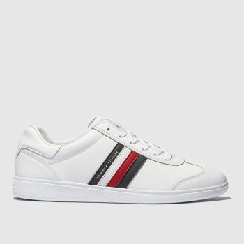 Tommy Hilfiger White & Navy Ess Corporate Cupsole Trainers