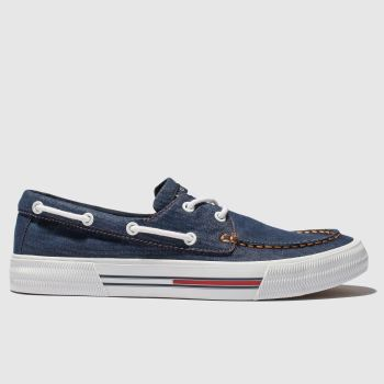 tommy hilfiger navy & white tj denim hybrid city sneaker trainers