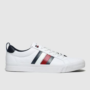 Tommy Hilfiger White & Navy Flag Detail Sneaker Mens Trainers