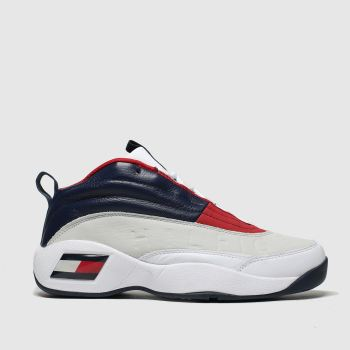 Tommy Hilfiger White & Navy Tj The Skew Heritage Sneaker c2namevalue::Mens Trainers