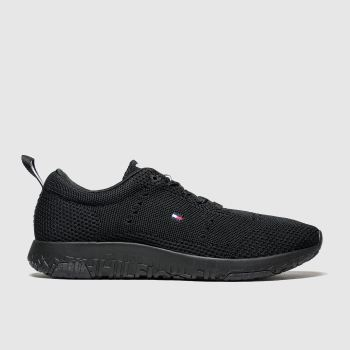 tommy hilfiger black corporate knit modern runner trainers