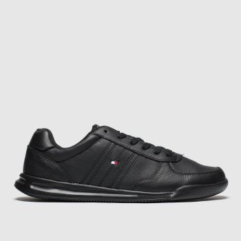 Tommy Hilfiger Black Lightweight Leather Flag Mens Trainers