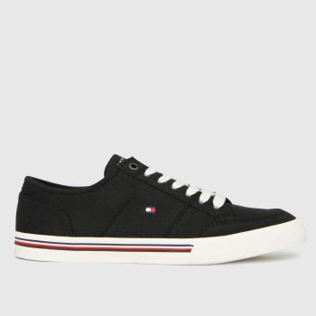 Tommy Hilfiger Black & White Th Corporate Textile Sneaker Mens Trainers