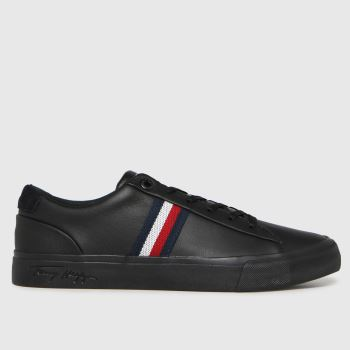 Tommy Hilfiger Black Corporate Leather Sneaker Mens Trainers