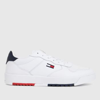 Tommy Hilfiger White Basket Leather Mens Trainers