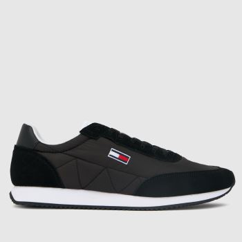 Tommy Hilfiger Black Retro Lo Runner Mix Mens Trainers