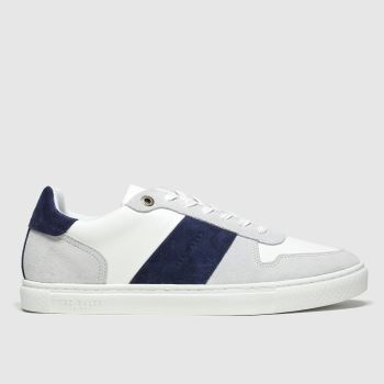 Ted Baker White & Navy Coppit Mens Trainers