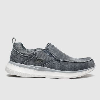 Skechers Grey Delson Slip c2namevalue::Mens Trainers