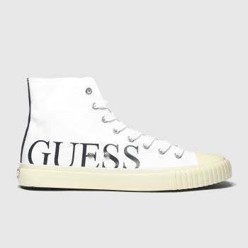 GUESS White & Black New Winners Hi Mens Trainers