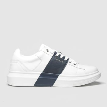 GUESS White & Navy Salerno Ii Mens Trainers