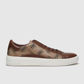 GUESS Beige & Brown Verona Mens Trainers#