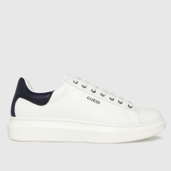 GUESS White & Navy Salerno Mens Trainers