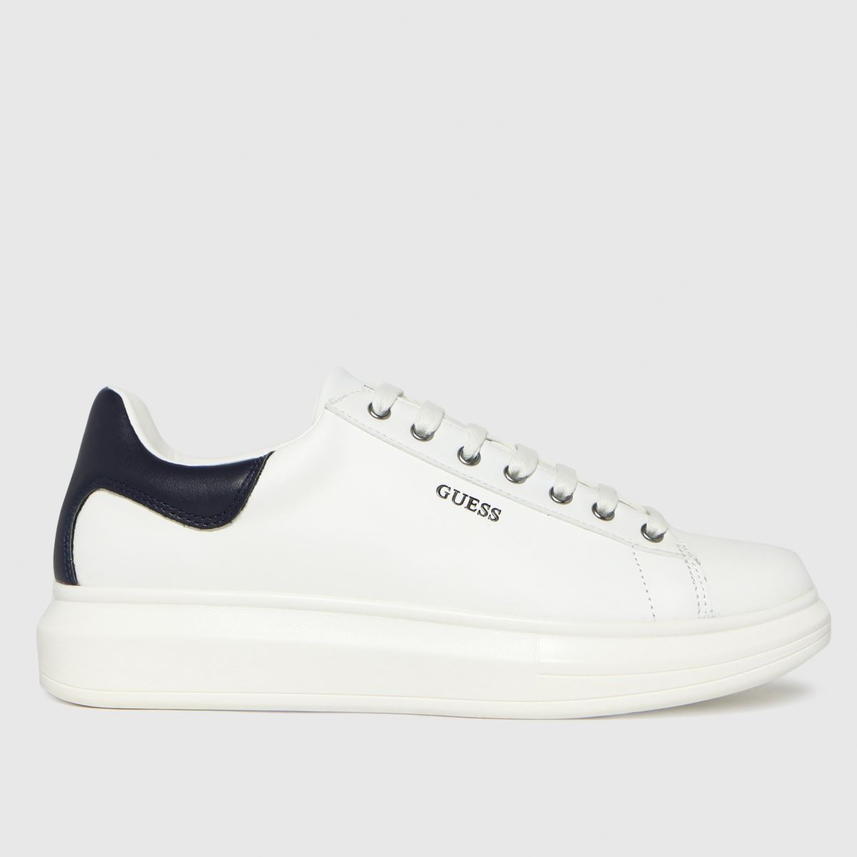 GUESS White & Navy Salerno Trainers