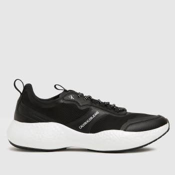 CALVIN KLEIN Black & White Runner Sneaker Mens Trainers