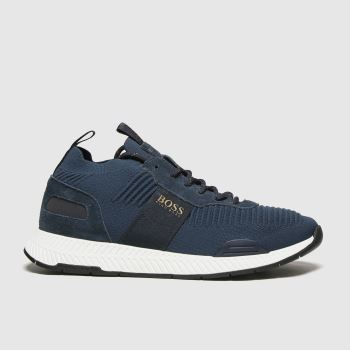 BOSS Navy Titanium Runner Knit Mens Trainers