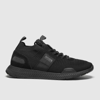 BOSS Black Titanium Runner Knit Mens Trainers#