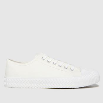 schuh White Warren Canvas Low Mens Trainers