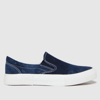 schuh White & Blue Wells Slip On Canvas Mens Trainers