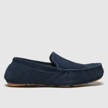 schuh Navy Sawyer Suede Mocc Mens Slippers