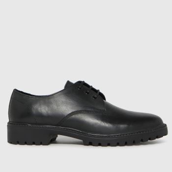 schuh Black Rayner Leather 3 Eye Derby Mens Shoes