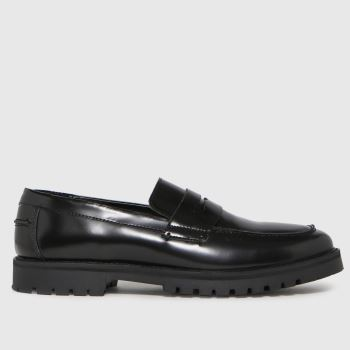 schuh Black Rogan Leather Hi Shine Loafer Mens Shoes