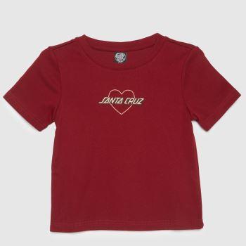 Santa Cruz Red Heart Strip T-shirt Womens Tops