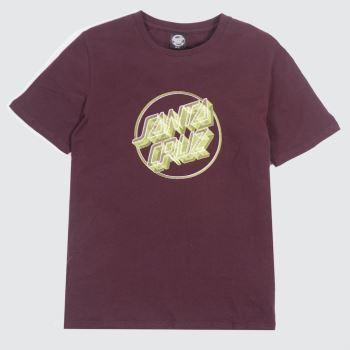 Santa Cruz Burgundy Linear Dot T-shirt Womens Tops
