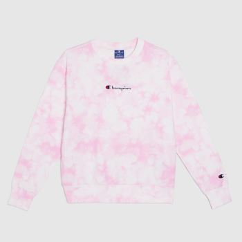 Champion Weiß-Pink Crewneck Sweatshirt Tops für Damen