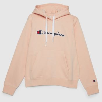 Champion Pale Pink Logo Hooded Sweatshirt Womens Tops