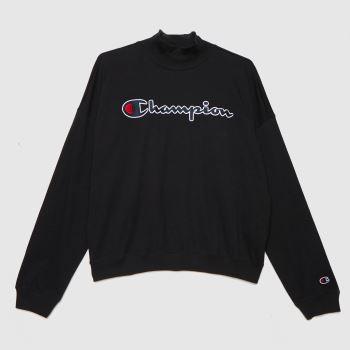 Champion Schwarz Crewneck Ls T Shirt Tops für Damen