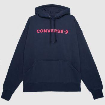 Converse Marineblau Oversized Hoodie Tops für Damen