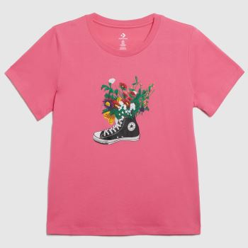 Converse Pale Pink In Bloom Graphic Tee Womens Tops