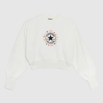 Converse wander crew in white & red
