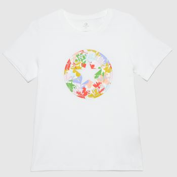 Converse White Flower Patch Graphic T-shirt Womens Tops