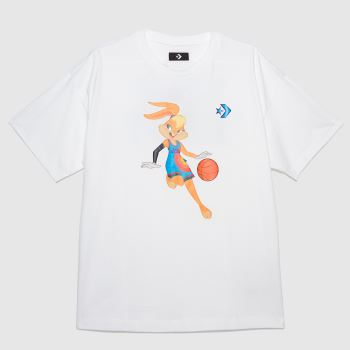 Converse White Space Jam Oversized T-shirt Womens Tops
