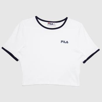 Fila White Perla T-shirt Womens Tops