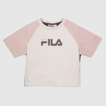 Fila White & Pink Aisha Fitted Crop Tee Womens Tops