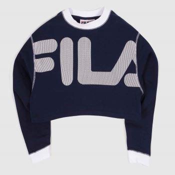 Fila Navy & White Neha Crop Sweatshirt Womens Tops