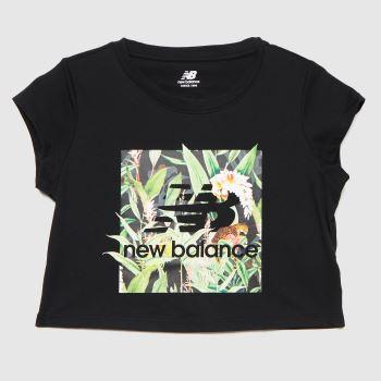 New balance Black & Green Essentials Botanical T-shirt Womens Tops