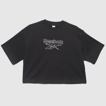 Reebok Black Pf Big Logo T-shirt Womens Tops