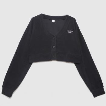Reebok wide knit cardigan in black