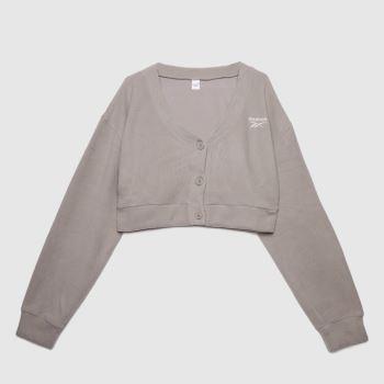 Reebok Grey Wide Knit Cardigan Womens Tops