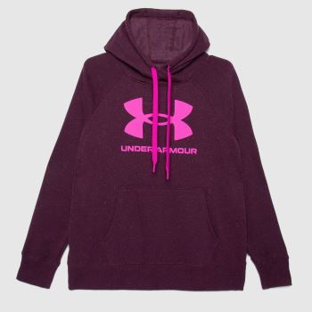 Under Armour Purple Rival Logo Hoodie Mens Tops